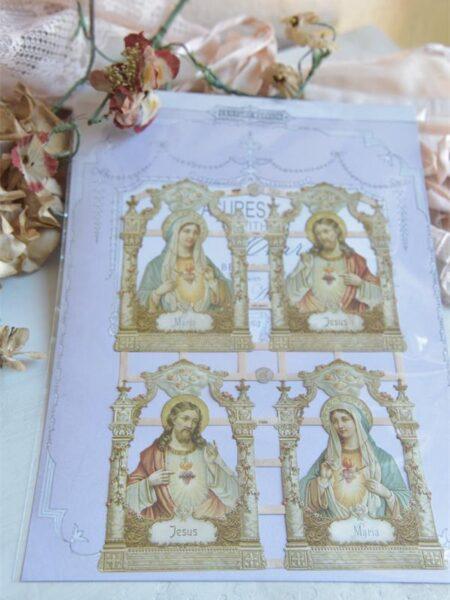 1 Ark glansbillede med religiøse motiver.