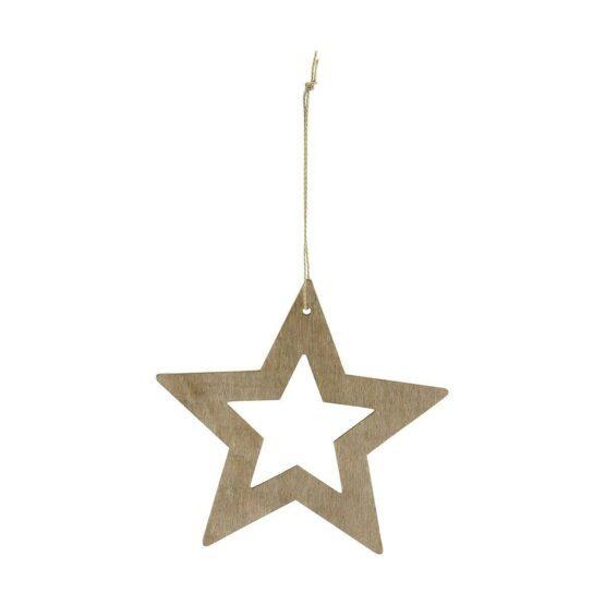 Ornament stars træ 12 cm