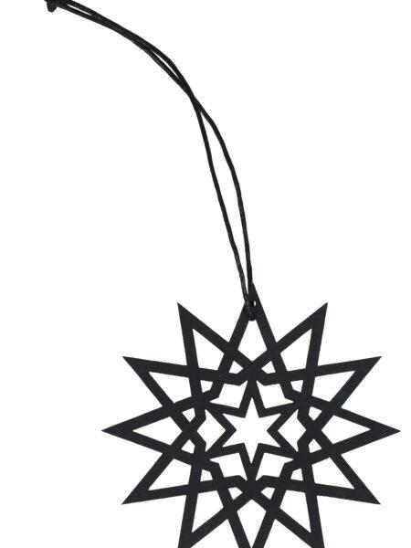 Ophæng stjerne papir m/gylden tråd sort - lille