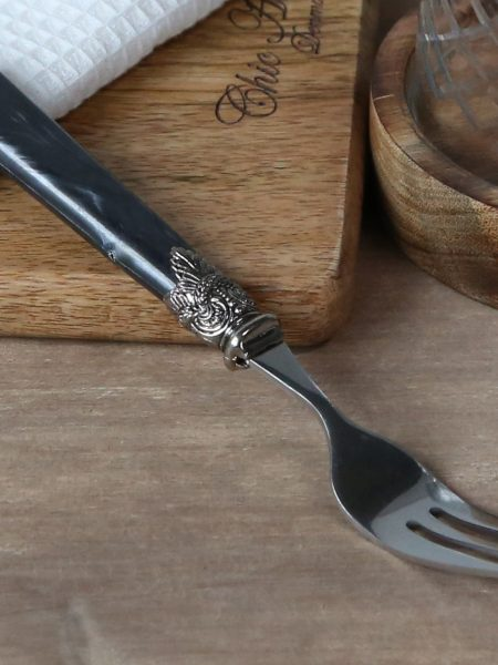 Linas Kagegaffel m. sølv deko sæt af 12 stk i antique kul