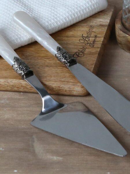 Linas Kagespade & kagekniv sæt af 2 i antique perlemor