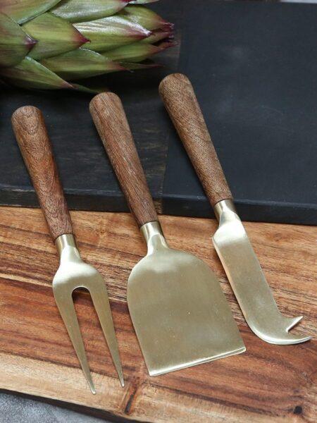 Osteknive m. træhåndtag sæt af 3 - messing