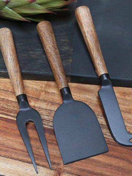 Osteknive m. træhåndtag sæt af 3 - sort