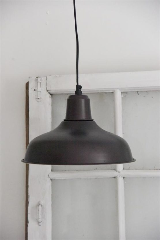 Hængelampe - 30 cm - Mørk metal, blank