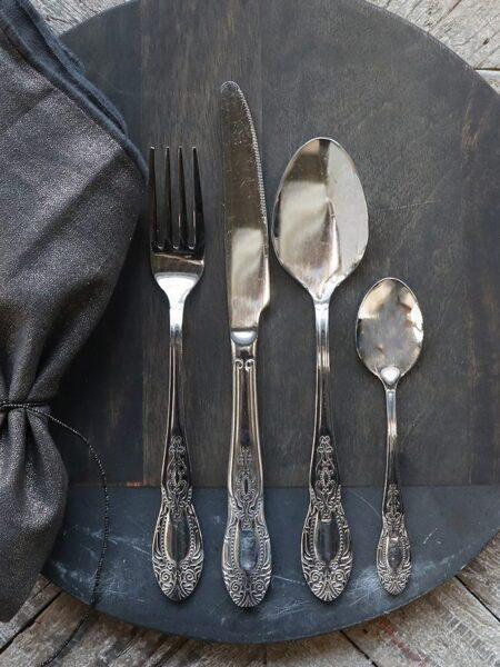 Bestik m. dekor sæt af 4 - sølv
