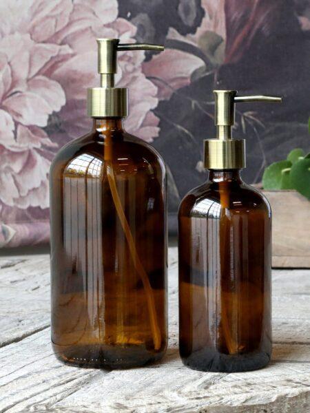 Flaske m. 2 pumper 1000 ml. - mocca