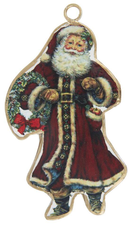 Julemand t/ophæng m. krans i hånden