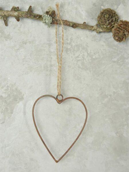 Hjerte - 9 cm - Gl. rustikt look