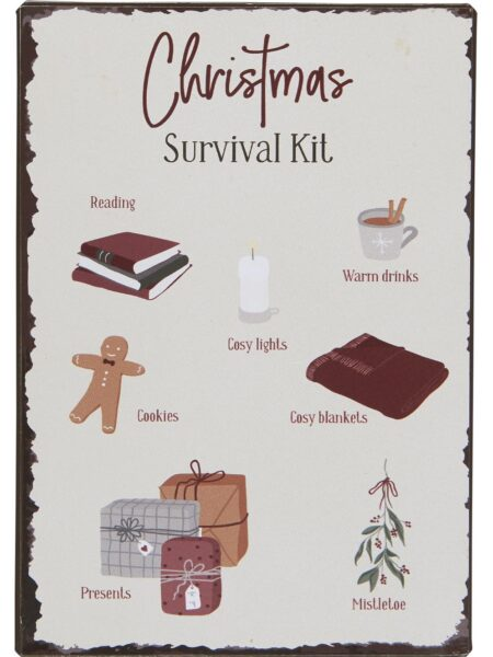 Metalskilt - Christmas Survival Kit