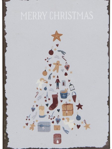 Metalskilt - Merry Christmas m/juletræ