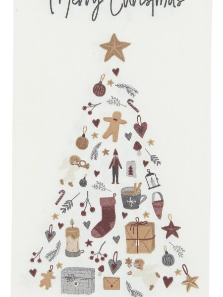 Serviet Merry Christmas m/juletræ