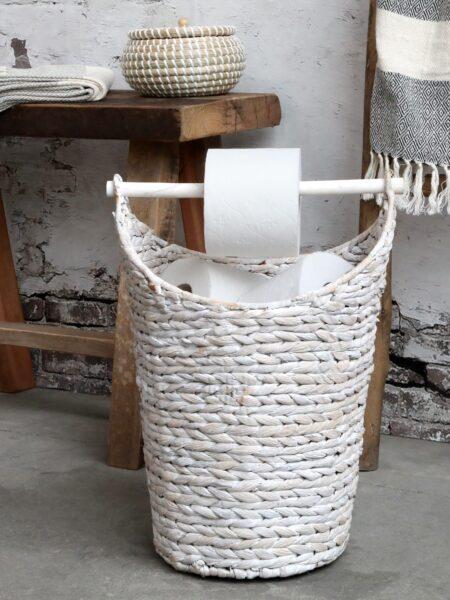Kurv med toiletpapirholder - Antique hvid