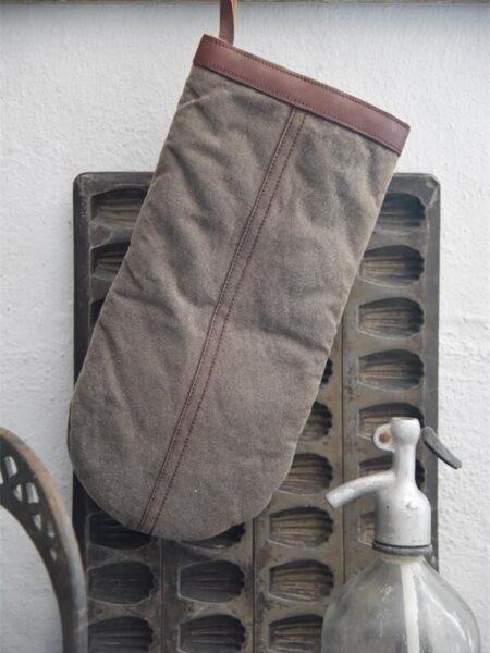 Grillhandske - Vokset kanvas - Brun