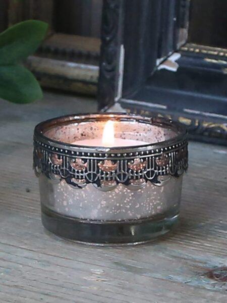 Fyrfadsstage m. sølv dekor