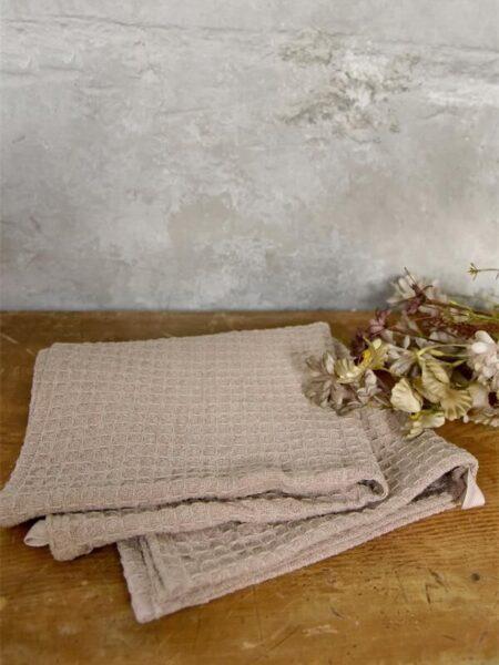 Håndklæde - 40x60 cm - Rosa/nougat