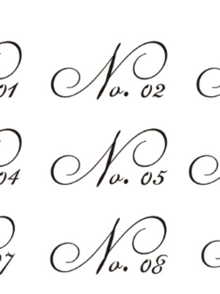 Stencil - Nummer - kursiv bogstaver